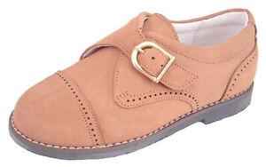 DE OSU - Boys Tan Brown Leather Dress Monk Straps - European - Shoes Size 6-10