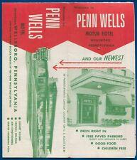 Penn Wells Motor Hotel Wellsboro Pennsylvania pa Travel brochure folder
