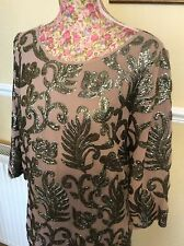 Monsoon Ally Mink Nude EmbellishedDress Size 14 Excel Post Daily Holiday 9 May