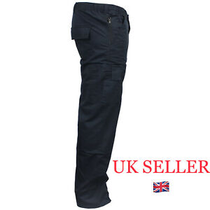 Mens Cargo Work TROUSERS combat size 32 to 44 in BLACK or NAVY Chino Work pants