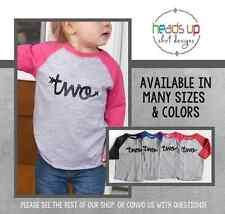 2 Birthday Shirt Toddler Boy/Girl Cursive Two Raglan Bday tshirt Kids Second 2nd