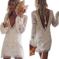 Women V Neck Deep Backless Long Sleeve Holiday Lace Mini Shirt Loose Tunic Dress