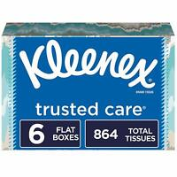 Kleenex Trusted Care Facial Tissues, 6 Flat Boxes, 144 Tissues per Box (864 Tiss