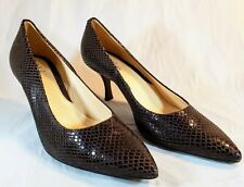 Cole Haan Womens Snake Print Shoes Brown Pointed Toe Pumps Heels Size 8 B