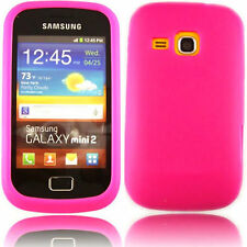 Premium Pink Jelly Gel Case Cover for Samsung Galaxy Mini 2 II S6500 + Screen G