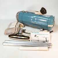 Vintage Electrolux Blue Canister Vacuum Cleaner L W/ Attachments MCM Strong!