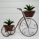 Large French Iron Rustic Brown Cart Bike Bicycle Flower Pot Holder Planter Stand