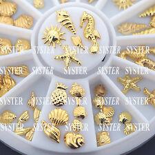 3D Metal Nail Art Decoration Ocean Accessories Gold Shell Conch+Wheel #SB-077C