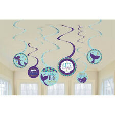 MERMAID WISHES HANGING SWIRL DECORATIONS (8) ~ Birthday Party Supplies Paper
