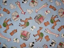 Newcastle Fabrics NEW PAPER DOLLS Animals on Blue-yards