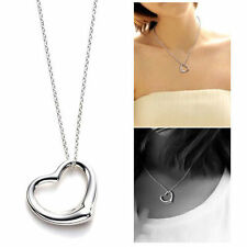 "NEW Open Heart Pendant & Chain Necklace 17.7"" long 45cm Silver Plated FREE SHIP"