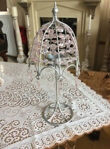 A LOVELY SILVER TEA LIGHT LAMP WITH PINK JEWELS #D