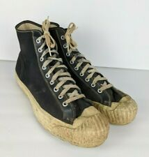 Vintage PF FLYERS Shoes Sneakers High Tops Black USA Collectors Men's 10.5?
