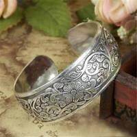 Women Retro Tibetan Tibet Silver Flower Carved Bangle Cuff Fashion Bracelet Gift