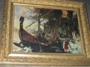 """Altes Gemälde von 1911, signiert Liedke, """"Raub der Sabinereinnen"""""""