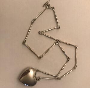Georg Jensen Joy Heart Long Necklace 126B Astrid Fog  Sterling  Very Rare Boxed