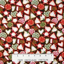 Hot Cider Fabric - Christmas Cookie Toss on Dark Brown - Wilmington YARD