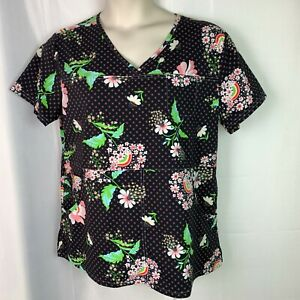 Koi Kathy Peterson Scrub Top Womens XL Black Pink Floral Medical Clothing