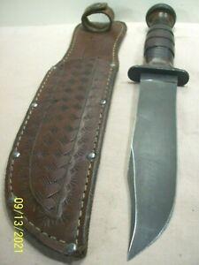 WWII~KABAR~OLEAN, N.Y.~MK1~GUARD MARKED FIGHTING KNIFE COMBAT WEAPON w/SHEATH~
