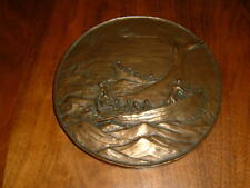 """ANTIQUE BRONZE WHALE HUNT SCENE TABLE PLAQUE SIGNED W/ FOUNDRY MARKS 8"""" WIDE"""