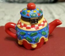 Me Ink Mary Engelbreit Enesco Miniature Ceramic Teapot Christmas Trinket Box