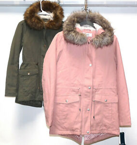 Sebby Collection Faux Fur Lined Hood Coat Jacket ROSE PINK OR OLIVE GREEN XS,S,L