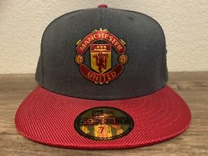 New Era 5950 Manchester United Fitted Hat (Heather Graphite/Scarlet Red) Cap
