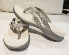 CROCS Dual Comfort Women's Capri Strappy Flip Flop Sandals Silver Metallic Sz 8