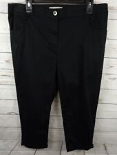 Chicos Cropped Pants Capris Size 14 Black Cuffed Flat Front Stretch