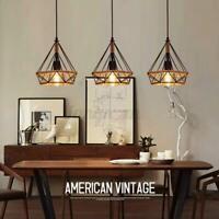 Retro Industrial Rope Metal Iron Bird Cage Ceiling Light Hanging Pendant Lamp