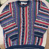 Vintage 90's Cotton Traders Coogi Style Hip Hop 3D Textured Sweater Men's 2x T