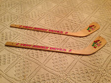"NEW JERSEY DEVILS Kids Hanging Mini Hockey Wooden Goalie Sticks  New ""Set of 2"""