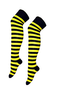 Over The Knee Yellow And Black Stripey Striped Socks Sox Fancy Dress Bumble Bee