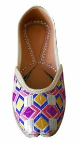 Women Shoes Indian Traditional Punjabi Jutties Leather Loafers Mojari US 5.5
