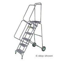 """NEW! 5 Step 16""""W Stainless Steel Fold & Store Rolling Ladder-Perforated Tread!!"""