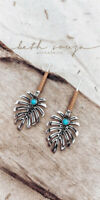 Monstera Leaf Drop Dangle Earrings Turquoise Statement Tropical Plant Jewelry