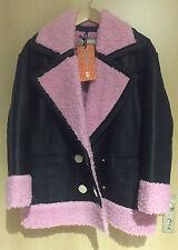 KENZO X H&M Jacke Lederjacke Jacket Leather mit Teddyfell Größe size XS neu new