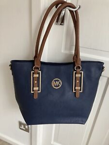 Navy Leather Effect Tote Bag Large -used Once, Still With A Tag VGC! MK Logo