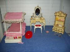 Vintage Barbie Suzy Goose Vanity Canopy Bed Drawer Dominoes Croquet & Shelf