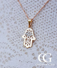 "Fine 9ct Rose & White Gold Sparkling Hamsa Hand Necklace 18"""