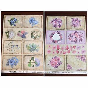 2 Lemon Craft Vintage Time 18 &06 Scrapbooking Paper Acid & Lignin Free A4 Size