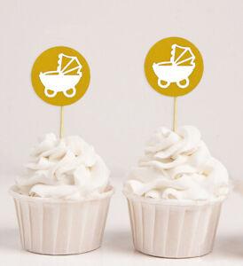 Darling Souvenir| Baby Pram Baby Shower Cupcake Toppers| Dessert-fJR