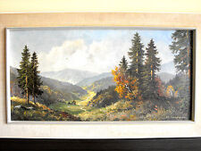 VINTAGE OIL PAINTING BEAUTIFUL GERMAN MOUNTAIN LANDSCAPE 37x21 inch R.CALMAM ART