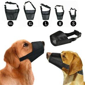Dog Safety Muzzle Biting Barking Chewing Control Adjustable Nylon Small - 2XL