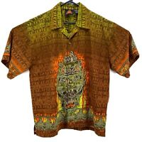 7 Diamonds Aztec Flames All Over Print Button Up Short Sleeve Shirt Mens Size M
