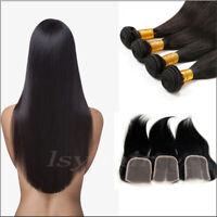 4/6 Bundles With Closure Straight Human Hair Brazilian Extensions Weft Hair