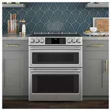 """GE Cafe Series 30"""" Slide-In Front Control Induction and Convection Double Oven"""