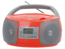 TREVI Stereo Portatile Boombox CD MP3 RADIO FM AM AUX-IN presa in Rosso