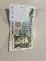 1985 Italy Banca D'Italia 5000 Cinquemila Lire Italian Bank Note Currency