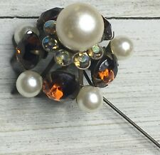Vintage Faux Pearl & Amber Large Stone Hat Pin Jewelry Accessory